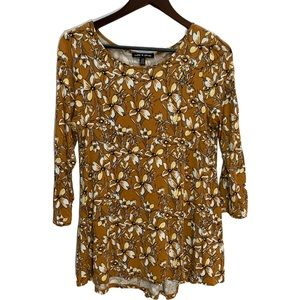Cable & Guage Mustard Floral T-Shirt Top Size M